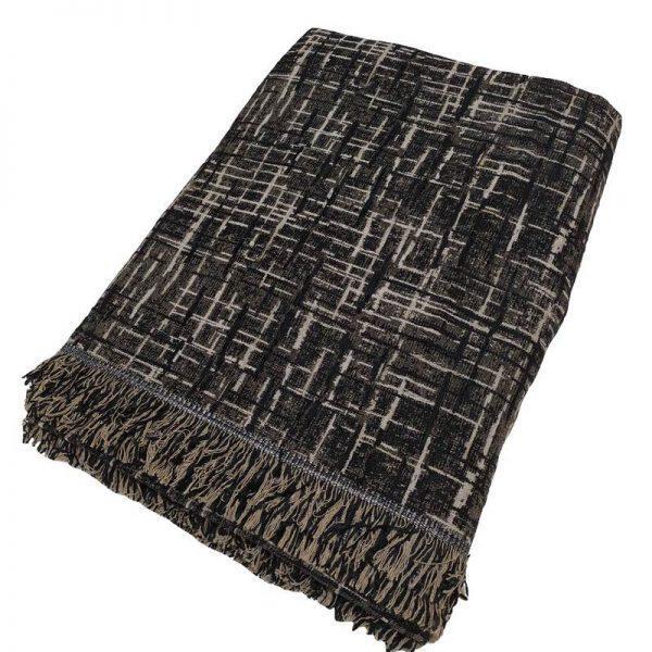 Ριχτάρι ΚΟΜΒΟΣ Σενιλ Τριθέσιου 180x280 Lines Black