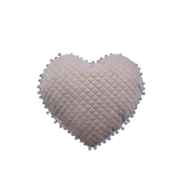 Palamaiki Μαξιλαρι Καρδια Με Pon-pon 40x38 Elwin Collection Elwin Beige