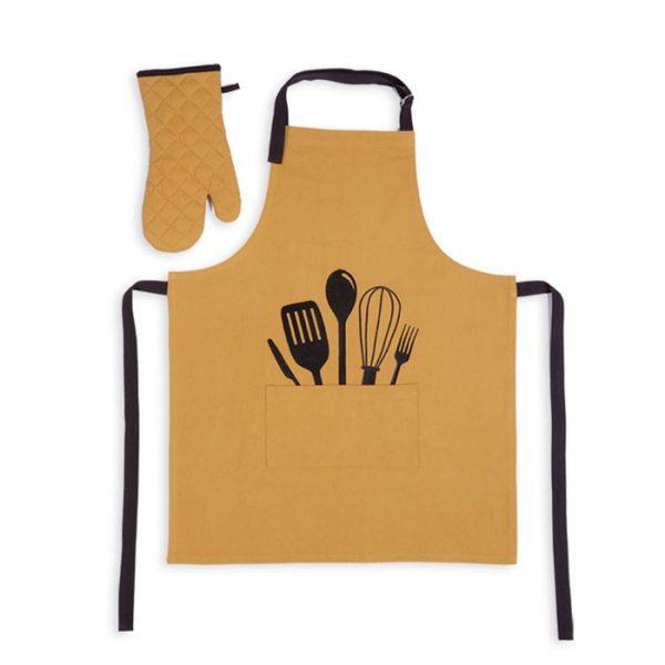 Nef Nef Σετ Ποδιά και Γάντι 18x33, 63x79 Εμπριμέ Cooking Honey
