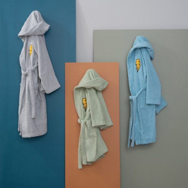Palamaiki Μπουρνουζι 4-6 Ετών Kids Bath Lightning Grey
