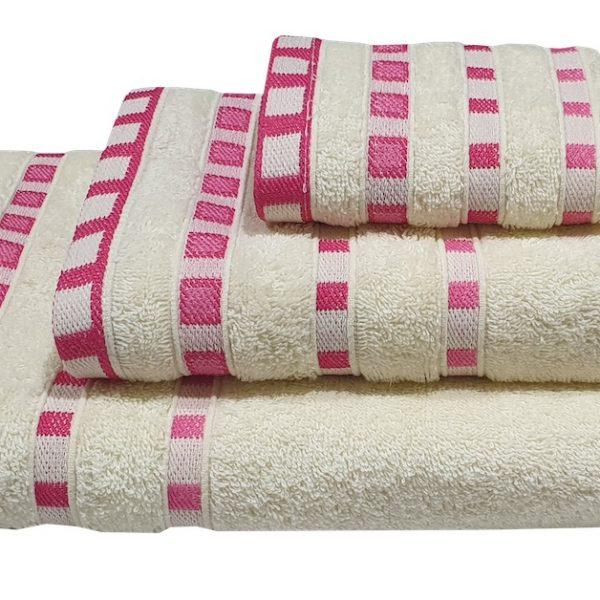 Πετσέτα ΚΟΜΒΟΣ Πεννιέ 450γρ/μ2 Πουά Ζακάρ Κρεμ-Κοραλί Σώματος 70x140